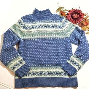 L.L Bean Lamb Wool Nordic Sweater Size M